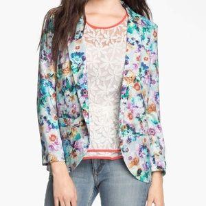 Hinge Aqua Purple Multicolor Floral Blazer
